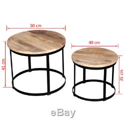 Industrial Side Tables Set Vintage Rough Wood Coffee Table Bedside Plant Stand