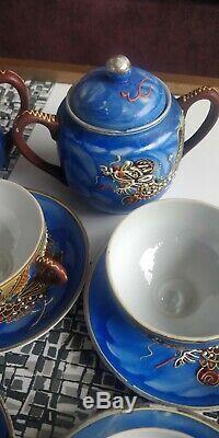 Japanese Moriage Dragonware Coffee Set. LITHOGRAPH. Antique Vintage Satsuma