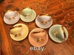 KPM Kopenhagen Porcelain Maleri 6 Cups and Saucers Set Vintage Pastel Coffee Set