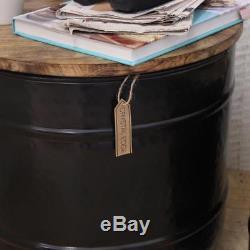 Kamet Set of 2 Storage Side Tables Barrel Shaped Industrial Vintage End Coffee