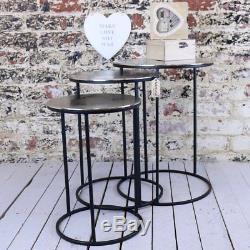 Karari Set of 3 Round Occasional Tables Vintage Nest Side End Table Coffee