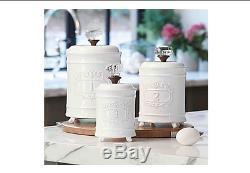 Kitchen Canister Set Coffee Sugar Tea Food Storage Bathroom Office Vintage White