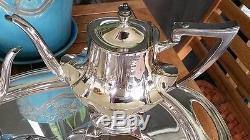 L. B. S. CO. Vtg. Nickel Silver Coffee&Tea Set WithCreamer, Sugar Bowl&Footed Tray22x14