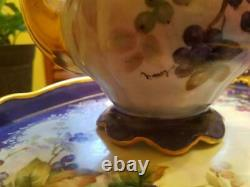 LARGE Vintage Hutschenreuther HPainted Blueberry Tea Coffee Chocolate Pot Set