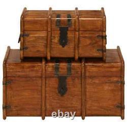 Large Vintage Wooden Treasure Chest Storage Box Trunk Brown Case Antique Table