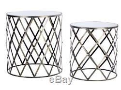 Metal Side Table Small Vintage Mirrored Glass Coffee End Industrial Tables Set