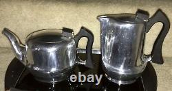 Mid Century Vintage 5 Piece PICQUOT WARE Tea Coffee Sugar Milk Set w Tray