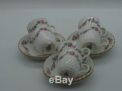 Mintons Demitasse Coffee Set for Six (6). Made in England Rose Garland Design