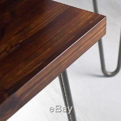 NEW Vintage Solid Wood Coffee Table Set/ Nest Hairpin Legs, Rustic Dark Wood