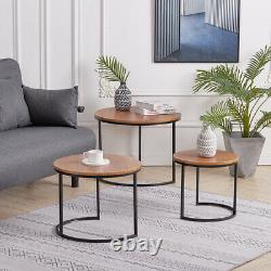 Nest of 2/3 Coffee Table Round Nesting Side End Tables Vintage Living Room Set