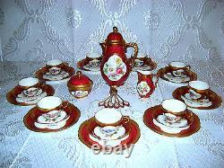 No Teapot! Antique Vtg German Lindner Kueps HP Porceln Red Floral Tea Coffee Set