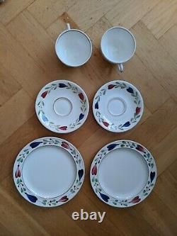 Pair Vintage Ranka Allmoge Coffee Set Cups, Saucers Plates STIG LINDBERG 6 pcs