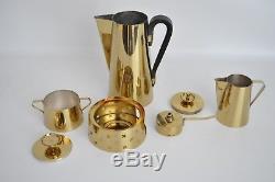Parzinger Dorlyn Vtg Mid Century Modern Brass Coffee Tea Pot Pitcher Service Set