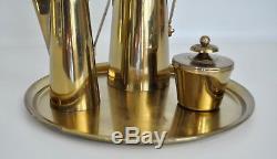 Parzinger Dorlyn Vtg Mid Century Modern Brass Coffee Tea Pot Pitcher Set Tray