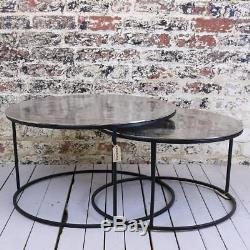 Qadiam Set of 2 Round Occasional Tables Vintage Metal Coffee Side End Table