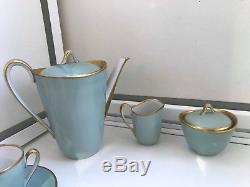 RARE 10 Cup 10 Saucer Vintage Zeh Scherzer Bavaria 14 piece Porcelain Coffee Set