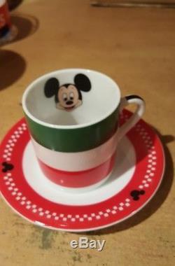 RARE Disney Mickey coffee cups Italian Italy Espresso Demitasse Set of 4 Vintage