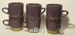 Rare Edith Heath Ceramic Pottery Vintage Mid-century Deep Purple Tea Coffee Set