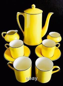 Rare Set of Vintage (1930s) English Crown Ducal Nine Piece Demitasse Coffee Set