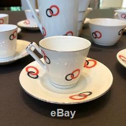 Rare Vintage 1930s Czech Victoria Porcelain Art Deco Coffee Set Jazz Age