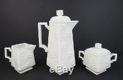 Rare Vintage Boehm Porcelain 3pc Rose Coffee Set Pot Creamer Sugar Bowl Tea