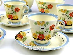 Rare Vintage Newhall Hanley England Fortuna Shape Coffee Set handpainted ArtDeco