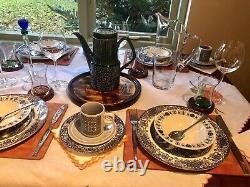 Retro Tablescape Vintage Dinner Set With Plates, Bowls, Glasses & Coffee Set