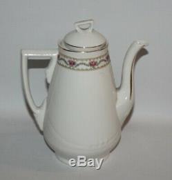Richard Ginori, Italy Rose Garland, C1687 Vintage 15 Piece Coffee Set for 6
