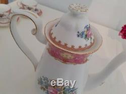 Royal Albert Lady Carlyle 15 piece coffee set vintage 1950's pink floral gold