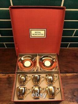 Royal Worcester Rare Vintage Gold Lustre Complete Coffee Set Original Packaging
