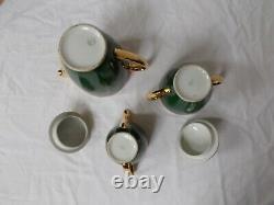 Service A Cafe Limoges France Vert Empire Or Coffee Set French Porcelain Vintage