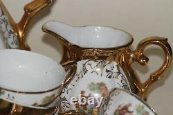 Service café porcelaine ancienne or rococo Italy Vintage Gold Mocca Coffee Set