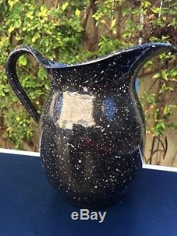 Set 2 Vintage USN Vollrath WWII Navy Graniteware Enamelware Pitcher Coffee Pot