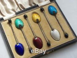 Set 6 Vintage Silver Enamel Shell Coffee Bean Coffee Spoons In Box