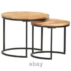Set Of 2 Nesting Tables Coffee Table Vintage Living Room Side End Tables Tables