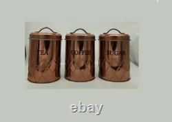 Set Of 3 Copper Tea Coffee Sugar Canisters Storage Jars Air Tight LID Container