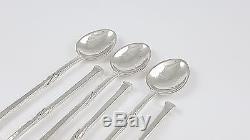 Set Of 6 Vintage Arts & Crafts Solid Silver Coffee Spoons Omar Ramsden 1935