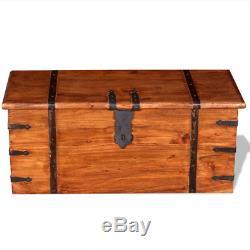 Set of 2 Vintage Treasure Chest Handmade Side Coffee Table Trunk Lockable Box