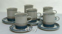Set of 6 Vintage Arabia Finland Uhtua Coffee Cups and Saucers Inkeri Leivo