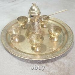 Sets Tea Vintage Arabic Sauser Cooper Coffee Cup Brass Pure Rar