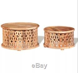 Small Wooden Side Table Vintage Round Coffee End Tables Set Antique Furniture