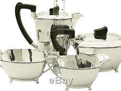 Sterling Silver Four Piece Tea & Coffee Set Art Deco Style Vintage 1955