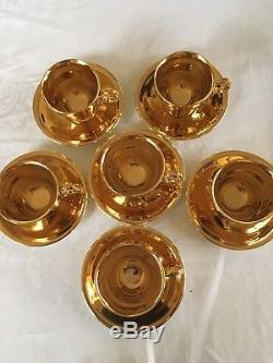 Stunning Vintage Royal Winton Grimwades Gold Lustre Coffee Set for Six