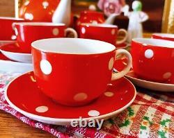 Tea coffee set Red with white peas DFZ Dulevo 1967-1991 USSR VINTAGE (NO LFZ)