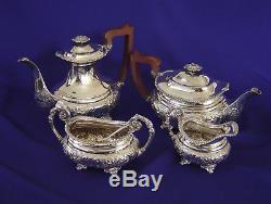 VERY FINE VINTAGE BARKER ELLIS 4-Pc SILVER PLATE REPOUSSE TEA COFFEE SET ENGLAND