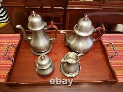 VERY RARE FIND! John Somers Brazil Vtg Pewter 8 PC Coffee Tea Set withWood Tray