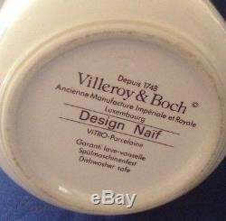 VILLEROY & BOCH NAIF 4 PIECE SERVICE SET TEAPOT CREAMER 2 COFFEE MUGS Vintage