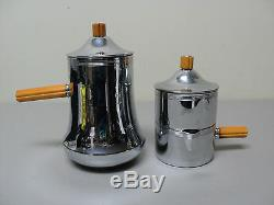 VINTAGE 1930s FARBERWARE CHROME & BUTTERSCOTCH BAKELITE 3-PC. COFFEE SET