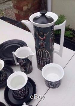 VINTAGE (1960s) PORTMEIRION MAGIC CITY COFFEE SET BY SUSAN WILLIAMS-ELLIS