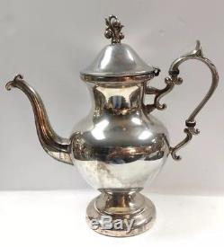 VINTAGE BIRMINGHAM SET COFFEE TEA POT CREAMER SUGAR BOWL AND TRAY SILVER Plate